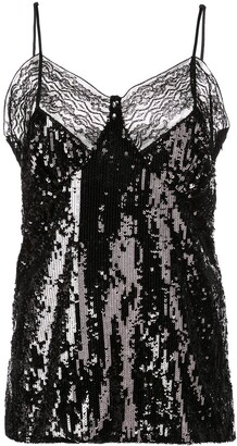 Michael Kors lace trimmed sequinned top