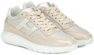 Hogan InteractiveA metallic leather sneakers