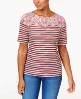 Karen Scott Petite Mixed-Print Top, Created for Macy's