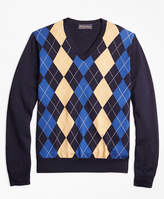 Brooks Brothers Supima® Cotton Cashmere Argyle V-Neck Sweater