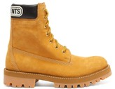 Vetements Logo-cuff Suede Trucker Boots - Womens - Tan