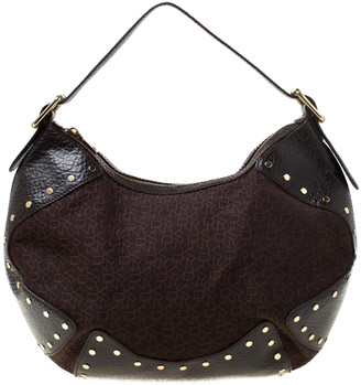 DKNY Brown Signature Fabric and Leather Studded Hobo