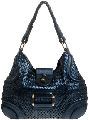 Alexander McQueen Metallic Navy Blue Woven Leather Novak Hobo