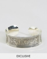 Reclaimed Vintage Engraved Bangle In Silver