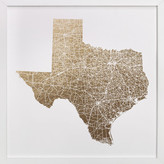 Minted Texas Map Filled Foil-Pressed Art Print