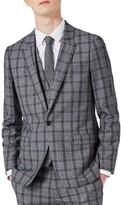 Topman Men's Skinny Fit Plaid Suit Jacket
