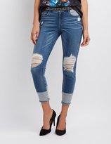 Charlotte Russe Refuge Destroyed Colorblock Skinny Jeans