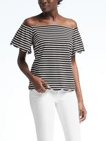 Banana Republic Stripe Off-Shoulder Scallop Trim Top