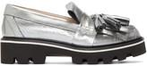 MSGM Silver Metallic Fringe Loafers