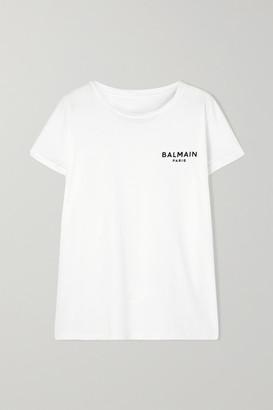 Balmain Flocked Cotton-jersey T-shirt - White