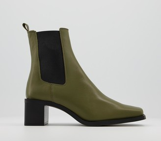 Office Appreciate Square Toe Block Heel Chelsea Boots Khaki Leather