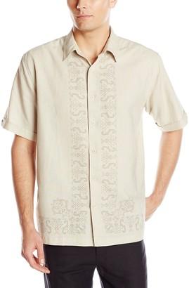 Cubavera Men's Short Sleeve Printed Large Shape Woven Shirt