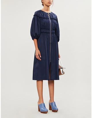 KITRI Puffed-sleeve A-line poplin midi dress