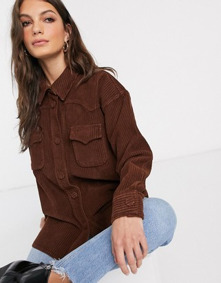 Asos Design DESIGN cord oversized shirt in chestnut brown