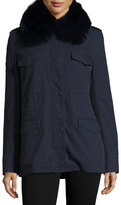 Yves Salomon Cotton Cargo Jacket w/ Fox Fur Collar, Navy