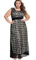 NiSeng Women's Sleeveless Lace Evening Formal Maxi Dress with Belt Plus Size XXL