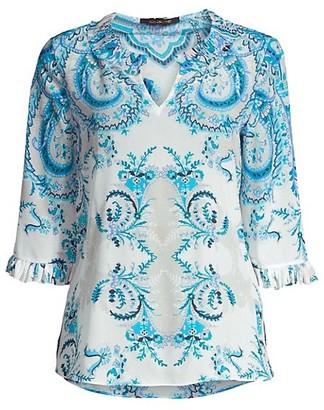 Kobi Halperin Nina Floral Ruffled Silk Blouse