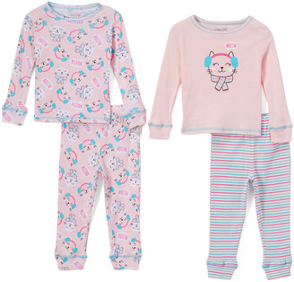 Rene Rofe Girl Girls' Sleep Bottoms ASSTPRINTS - Girls Club 'Meow' Crewneck Tee Set - Toddler & Girls