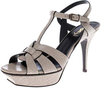 Saint Laurent Paris Cream Textured Leather Tribute Platform Ankle Strap Sandals Size 40