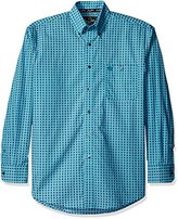 Wrangler Men's Big and Tall George Strait One Pocket Long Sleeve Turquoise Woven Shirt