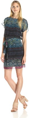 Julian Taylor Women's Short Sleeve Blouson Printed Dress