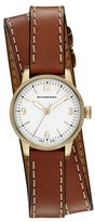 Burberry 'Utilitarian' Round Leather Wrap Watch, 30mm