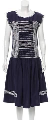 Suno Embroidered Midi Dress