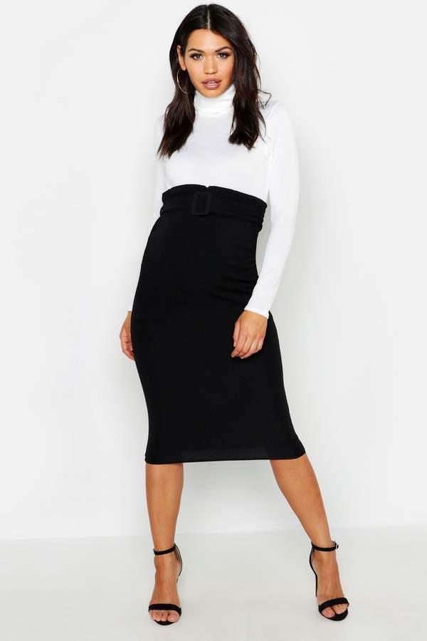 Maternity Belted Midi Skirt