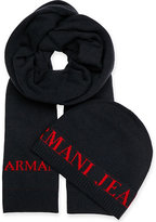 Armani Jeans Logo-printed Beanie Hat And Scarf Gift Set