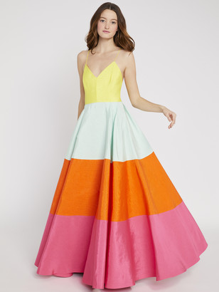 Alice + Olivia Lavelle Color Block Maxi Gown
