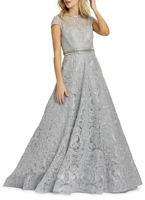 Mac Duggal Cap-Sleeve Damask Novelty Ball Gown