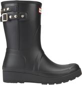 Hunter Studded-Strap Short Wedge Rain Boots Black 6