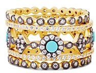 Freida Rothman Color Turquoise Stacking Rings in 14K Gold-Plated Sterling Silver, Set of 5