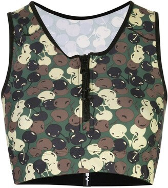 Adam Selman camouflage-print cropped top