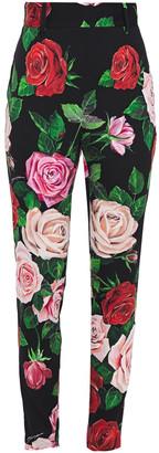 Dolce & Gabbana Floral-print Silk-blend Crepe De Chine Slim-leg Pants
