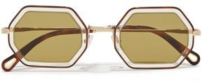 Chloé Hexagon-frame Tortoiseshell Acetate And Gold-tone Sunglasses