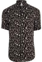 River Island Mens Big and Tall Black feather short sleeve shirt