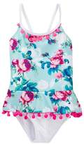 Betsey Johnson Rose Print Ruffle Pompom Trimmed One-Piece Swimsuit (Toddler Girls)