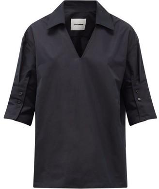 Jil Sander Point-collar V-neck Cotton Blouse - Womens - Navy