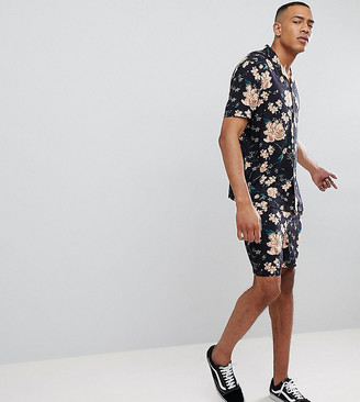 Asos Design DESIGN Tall Co-ord slim shorts with elasticated waistband in dark floral print-Black