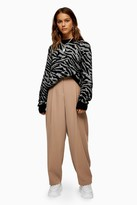 Topshop Womens Petite Mink Peg Tapered Slouch Trousers - Mink