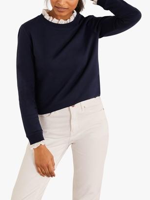 Boden Holly Lace Collar Cuff Sweatshirt, Navy