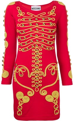 Moschino military style embroidered dress
