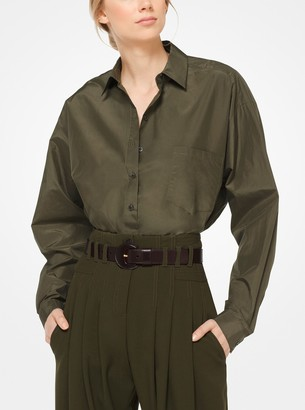 Michael Kors Silk and Cotton Taffeta Blouse