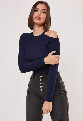 Missguided Navy Rib Cut Out Exposed Shoulder Knitted Bodysuit