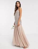 Maya strappy delicate sequin fishtail maxi dress in taupe blush