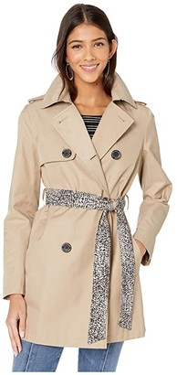 Sam Edelman Double Breasted Trench w/ Stripe Detail Belt (Light Sand) Women's Coat