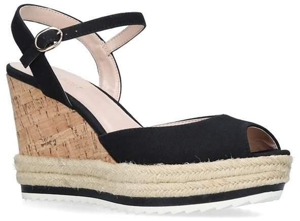 Nine West - Black 'Debi' High Heel Wedge Sandals