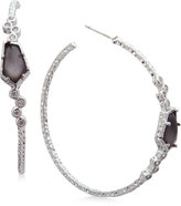 lonna & lilly Silver-Tone Pavé & Jet Stone Hoop Earrings
