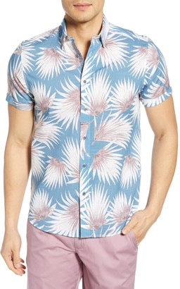 Ted Baker Palm Print Short Sleeve Extra-Slim Fit Hawaiian Shirt